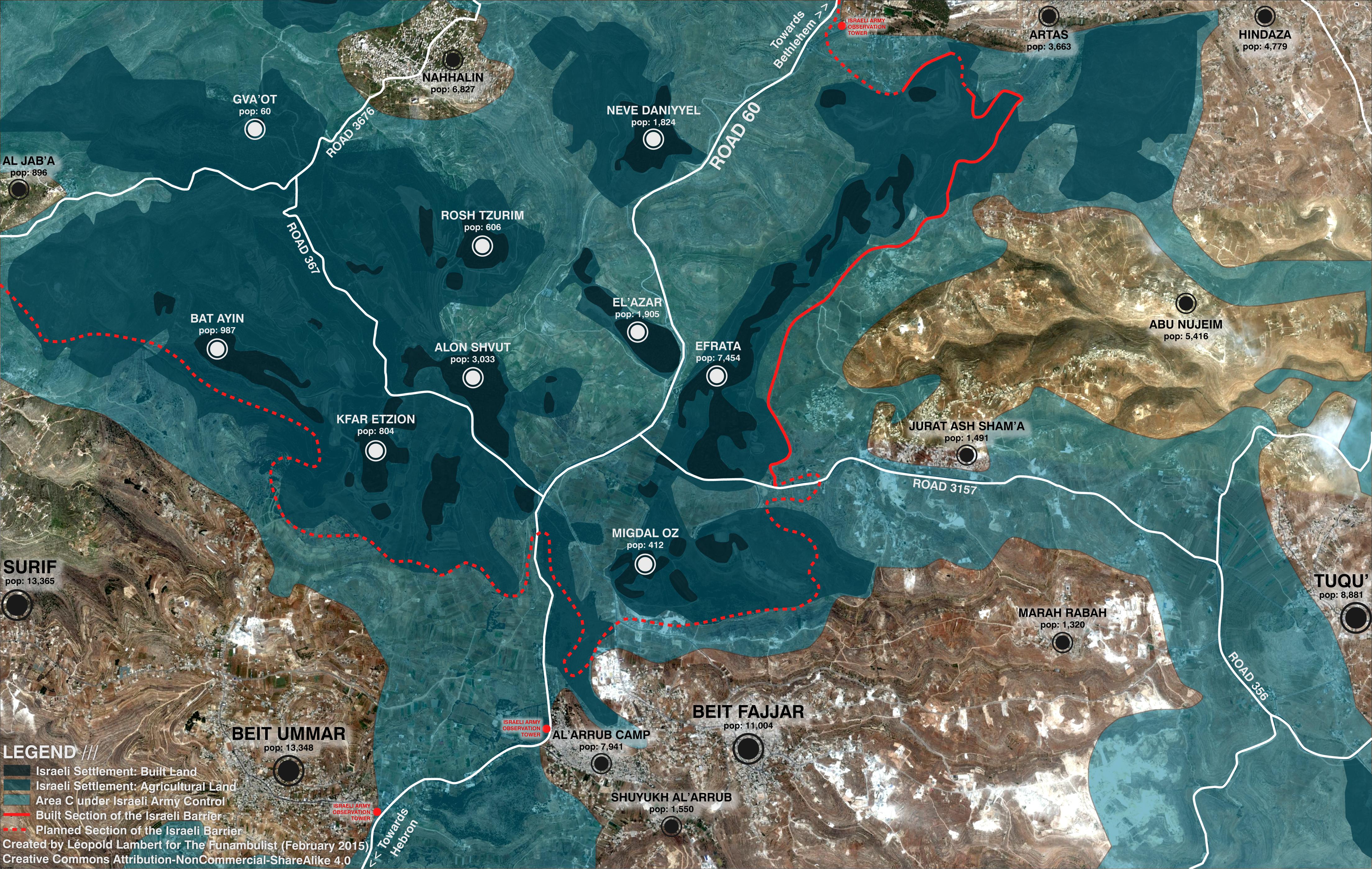 Israeli Settlements - Map by Leopold Lambert
