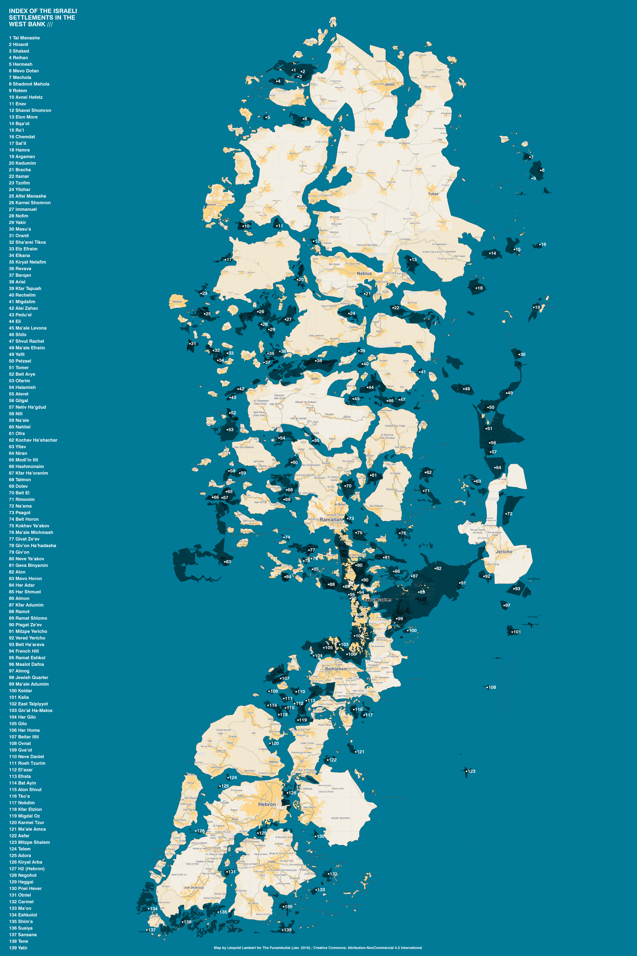 Atlas of the Israeli Settlements - Map by Leopold Lambert for The Funambulist (20160