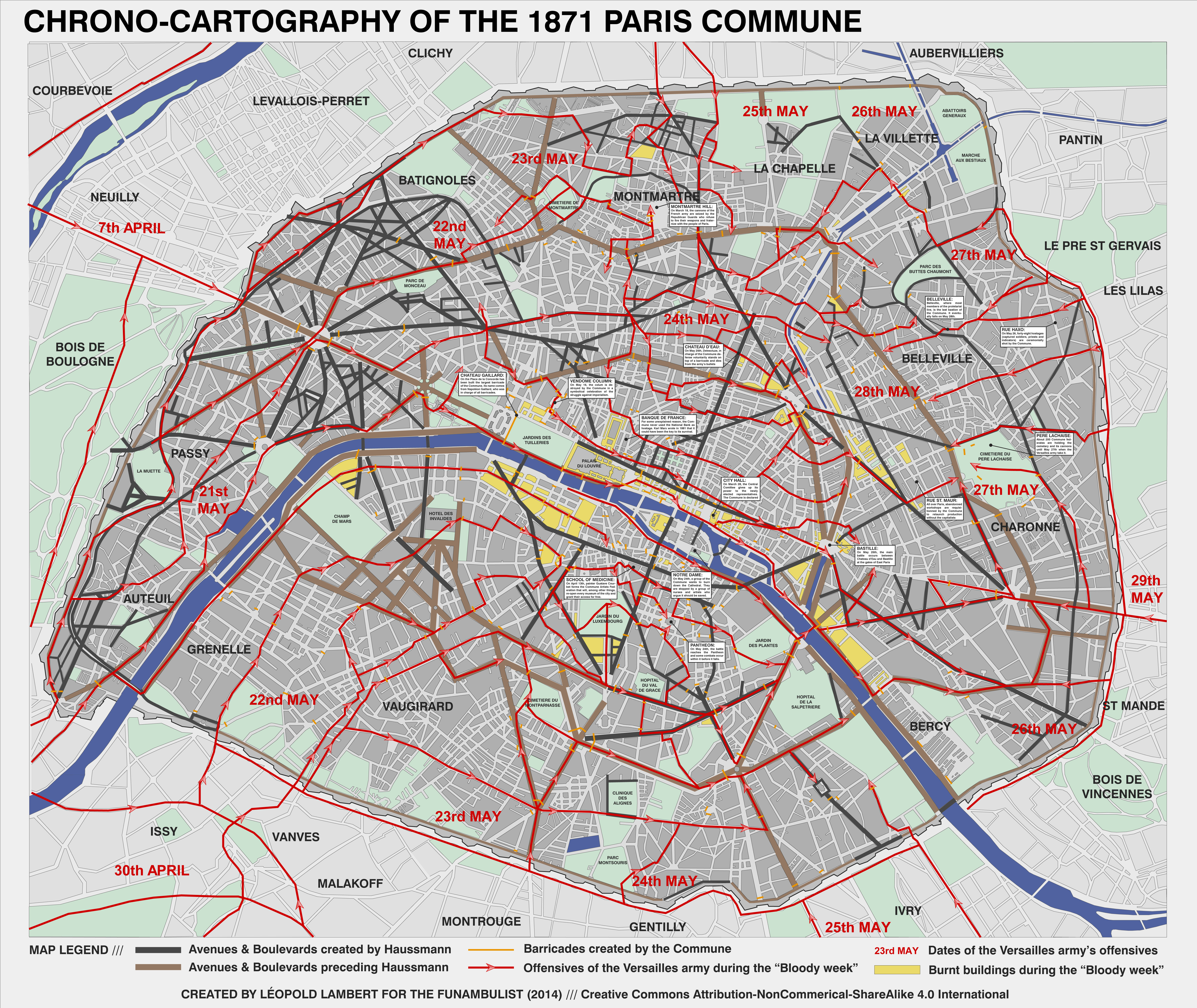 "... retrace it in a ""cleaner"" version but add to it other valuable  information so to obtain a comprehensive ""chrono-cartography"" of the 1871  Paris Commune."